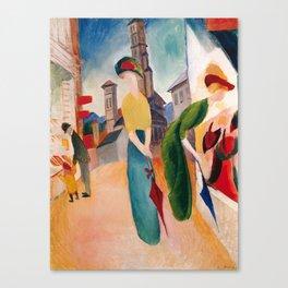 """August Macke """"Zwei Frauen vor dem Hutladen (Two women in front of a hat shop)"""" Canvas Print"""