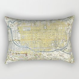 Japanese woodblock map of Kyoto, Japan, 1696 Rectangular Pillow
