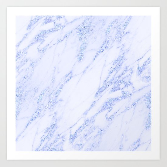 Blue Marble - Shimmery Glittery Cornflower Sky Blue Marble Metallic Art Print