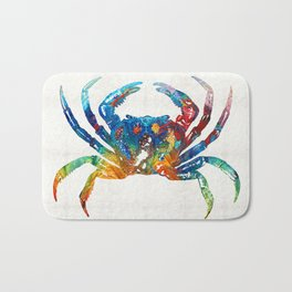 Colorful Crab Art by Sharon Cummings Bath Mat