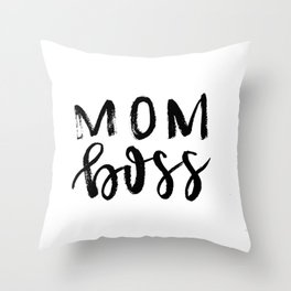Mom Boss Throw Pillow