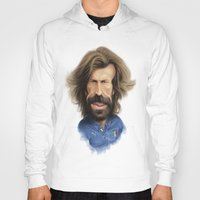 pirlo Hoodies featuring Andrea Pirlo - Italy by Sant Toscanni