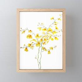 yellow Oncidium Orchid watercolor Framed Mini Art Print