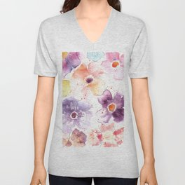 Watercolor Flowers Painting Unisex V-Neck