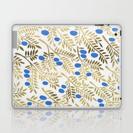 Olive Branches – Gold & Blue Laptop & iPad Skin