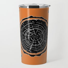 Autumnal Tree Trunk Cross Section with Wildflowers Design Travel Mug