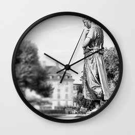 statue in grey  Wall Clock