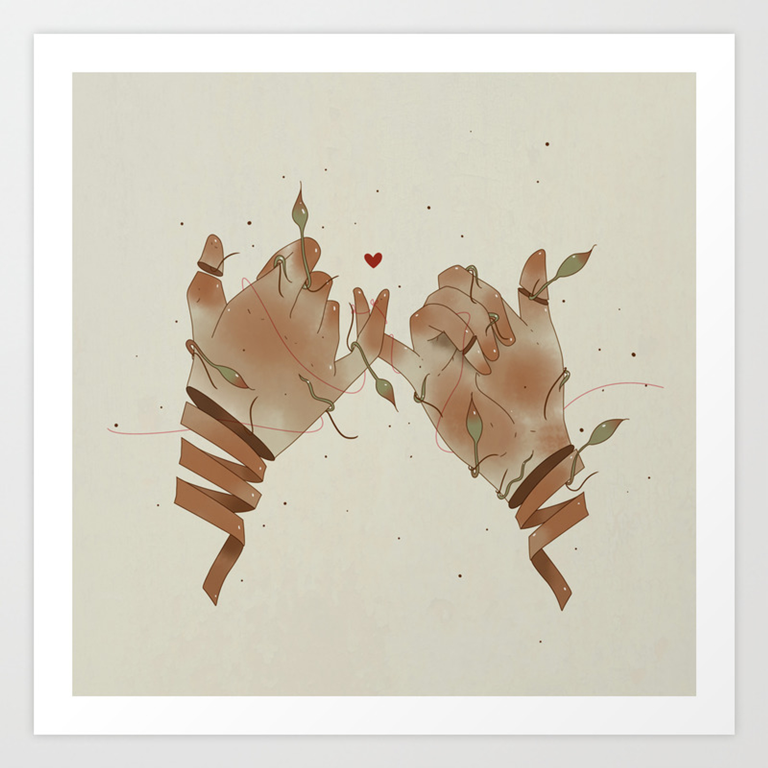 Red String Of Fate Art Print By Anig Society6