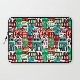 Christmas Village in Watercolor Red + Green Laptop Sleeve