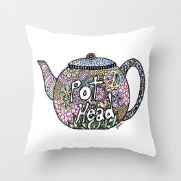 Tea Pot Head Throw Pillow