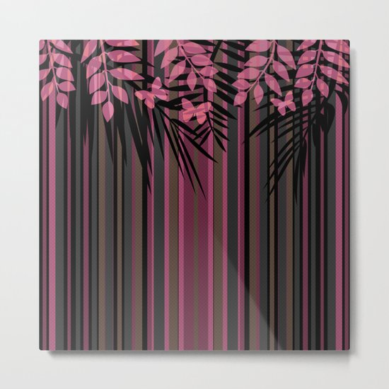 Butterflies and leaves on a striped red-and-black background . Metal Print