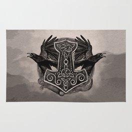 Mjolnir The hammer of Thor and ravens Rug