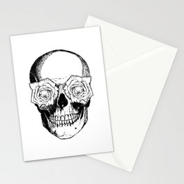 Skull and Roses | Skull and Flowers | Vintage Skull | Black and White | Stationery Cards