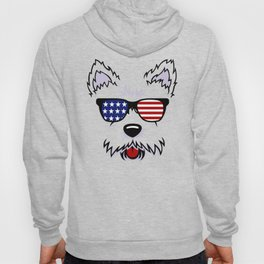 Westie Dog Face with American Flag Sunglasses Hoody