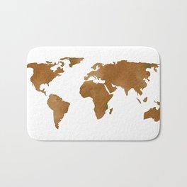 World Map Vintage Brown Bath Mat