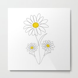 Pretty Little Daisies - Line Art Drawing - Spring Summer Collection Metal Print