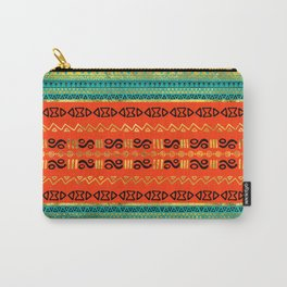 Ethnic Tribal Pattern Gold Orange and Teal Carry-All Pouch