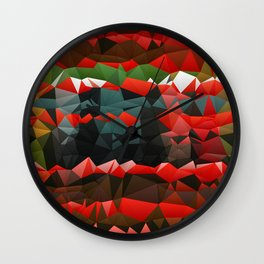 Red Green Quilted Pattern Design Wall Clock