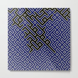 labyrinth in black and blue Metal Print