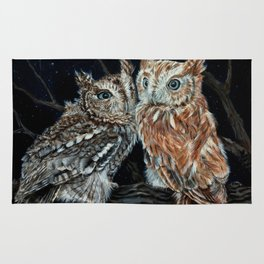 young love on a starry night - screech owls Rug