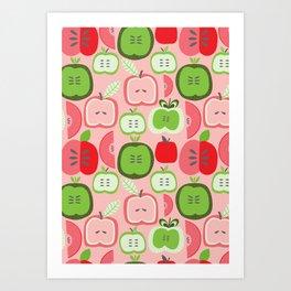 Retro Apples Art Print