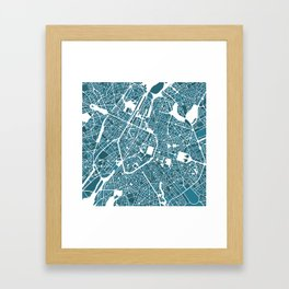 Brussels City Map I Framed Art Print