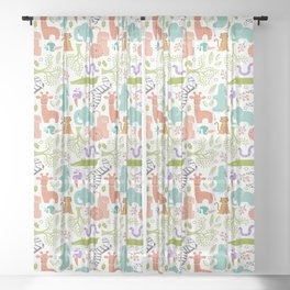 Zoo Pattern in Soft Colors Sheer Curtain