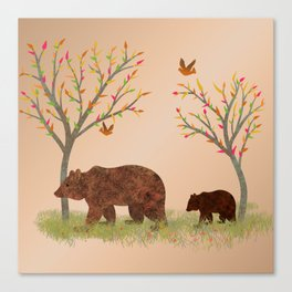 Walk In The Woods With Mama Bear Canvas Print