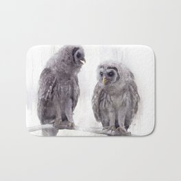 Young Barred Owls Perched on a Branch,Watercolor painting Bath Mat