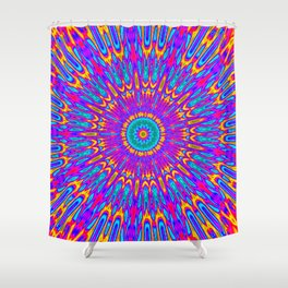 Happy Colors Explosion Psychedelic Mandala Shower Curtain