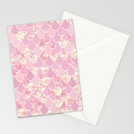 Cute Mermaid Scales Pattern, Pink and Gold Stationery Cards