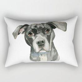 Black Pit Bull Dog Watercolor Portrait Rectangular Pillow