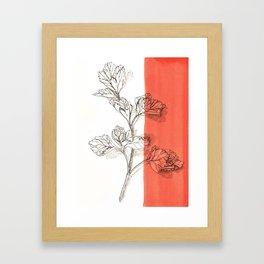 parsley branch nature watercolor orange Framed Art Print
