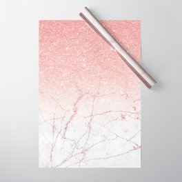 Rose Glitter Pink Marble Wrapping Paper