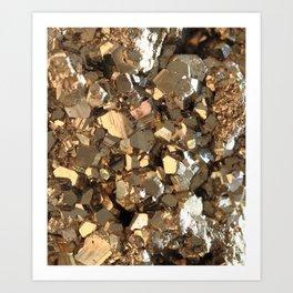 Golden Pyrite Mineral Art Print