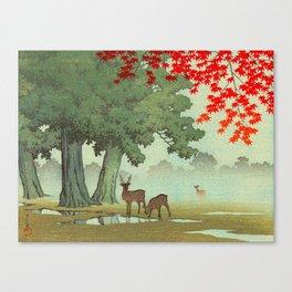 Vintage Japanese Woodblock Print Nara Park Deers Green Trees Red Japanese Maple Tree Canvas Print