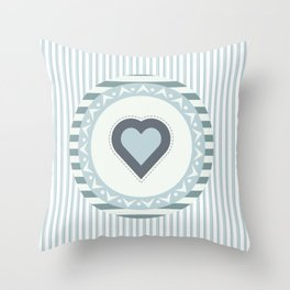 Blue heart Throw Pillow