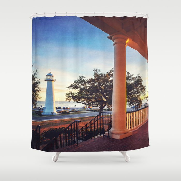 Biloxi Lighthouse Sunset Shower Curtain By Jmccool Society6