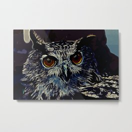 owl strix bird v2 vector art foggy night Metal Print