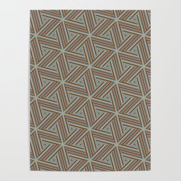 Brown and Blue Op Art Triangles Poster