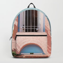 TWO WHITE WOODEN DOORS WITH GRILLS Backpack