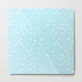 Merry Christmas- Teal Festive Stars X-Mas Pattern Metal Print