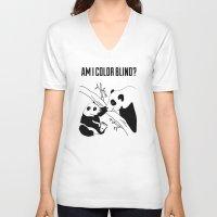 pandas V-neck T-shirts featuring Pandas by Raaz Herzberg