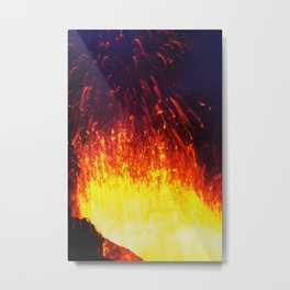 Eruption volcano - fountain, fireworks lava erupting from crater Metal Print