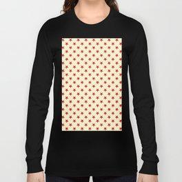 Crimson Red on Cream Yellow Stars Long Sleeve T-shirt
