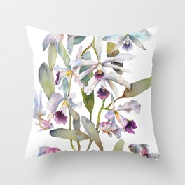 Cattleya Orchid White and Purple with Goldfish Muted Pallet Botanical Design Throw Pillow