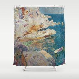 Joaquin Sorolla Y Bastida - Rocks at Javea. The white boat Shower Curtain