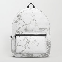 Gray white abstract modern marble pattern Backpack