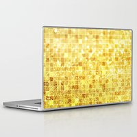 gold glitter Laptop & iPad Skins featuring Disco Gold - Glitter by Paula Belle Flores