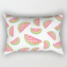 Hand painted modern watercolor hearts watermelon fruits pattern Rectangular Pillow